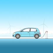 Auto, was durch Windkraft betrieben wird